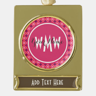 Pink Floral Monogrammed Gold Plated Banner Ornament