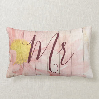 Pink Floral Mr and Mrs Lumbar Cushion