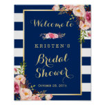 Pink Floral Navy Blue Stripes Bridal Shower Sign