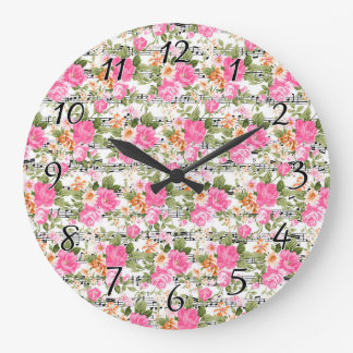 Pink Floral on Sheet Music Large Clock