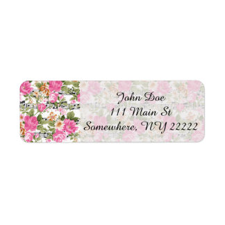 Pink Floral on Sheet Music Return Address Label