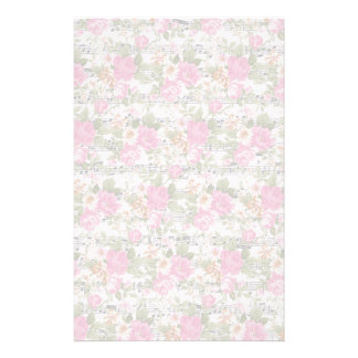 Pink Floral on Sheet Music Stationery