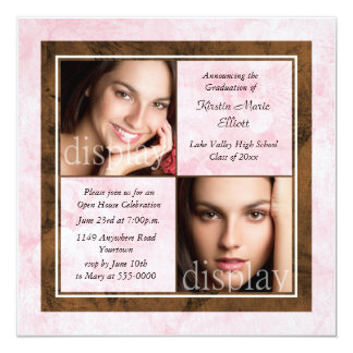 "Pink Floral Overlay Two Photo Graduation Party 5.25"" Square Invitation Card"