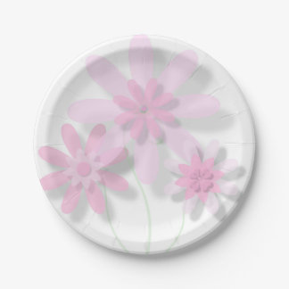 Pink Floral Paper Plate