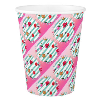 Pink floral party stars paper cup