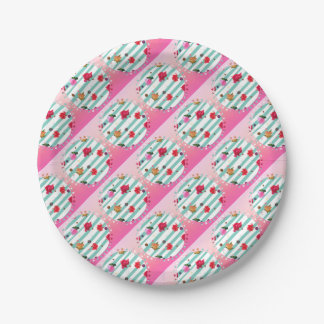 Pink floral party stars paper plate