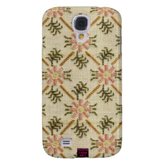 Pink Floral Pattern Cross-Stitch Design Galaxy S4 Cover