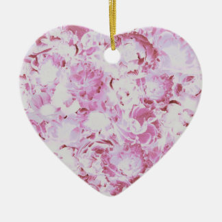 Pink Floral Pattern Heart Ornament