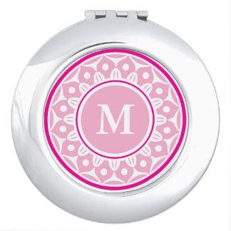 Pink   Floral Pattern Monogrammed Vanity Mirror