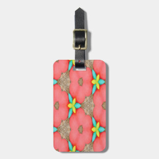 Pink floral Pattern with Yellow accent basketweave Luggage Tag