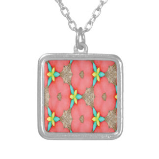 Pink floral Pattern with Yellow accent basketweave Silver Plated Necklace