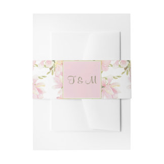 Pink Floral   Personalize Wedding Invitation Belly Band
