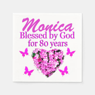PINK FLORAL PERSONALIZED 80TH BIRTHDAY NAPKINS DISPOSABLE SERVIETTE