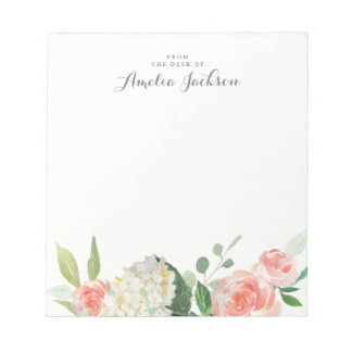 Pink Floral Personalized Notepad Stationery