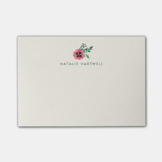Pink Floral Personalized Sticky Notes