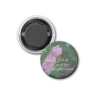 Pink Floral Praise Round Magnet w/KJV Scripture