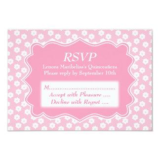 Pink Floral Quinceanera 9 Cm X 13 Cm Invitation Card