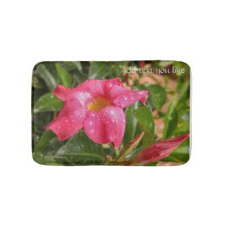 Pink floral raindrops tropic bathmat bath mats