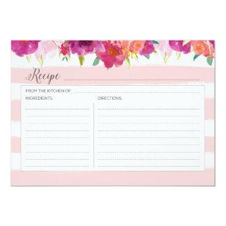 Pink Floral Recipe Card 13 Cm X 18 Cm Invitation Card