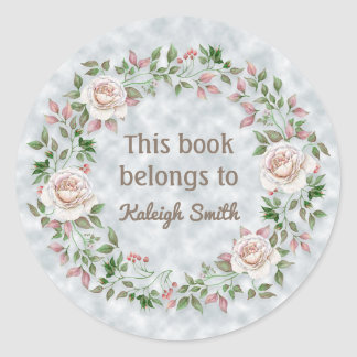 Pink Floral / Rose Wreath Book Name Plate Classic Round Sticker