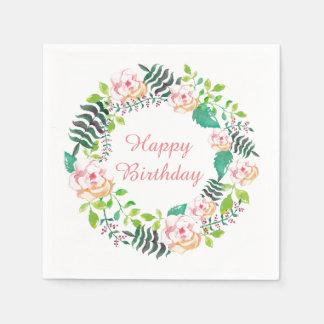 Pink Floral Rose Wreath Happy Birthday Disposable Serviette