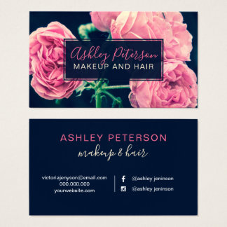 Pink floral roses navy blue hair makeup typography business card