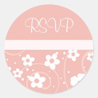 Pink Floral RSVP Wedding Envelope Seal Round Sticker