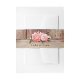 Pink Floral Rustic Burlap and Barn Wood Country Invitation Belly Band