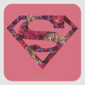 Pink Floral S-Shield Square Sticker