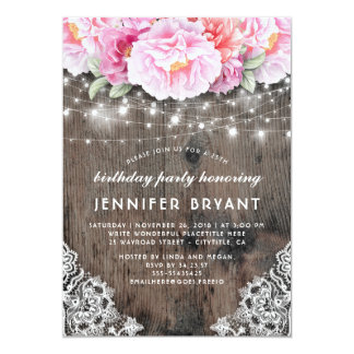 Pink Floral String Lights Rustic Birthday Party Card