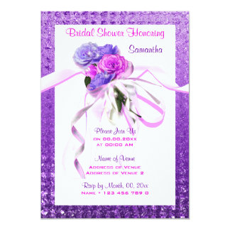 Pink floral stylish purple bridal card