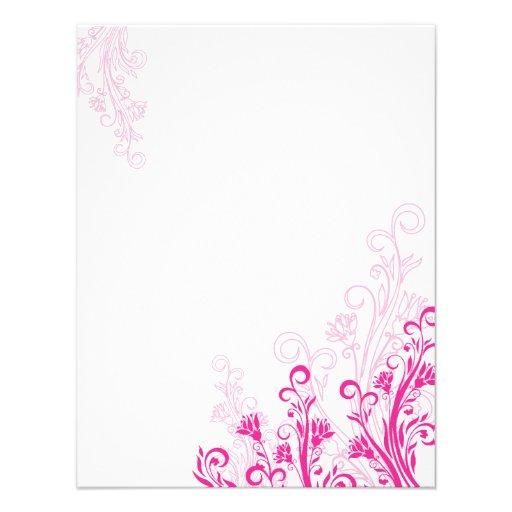 Pink Floral Swirl (blank) Invite