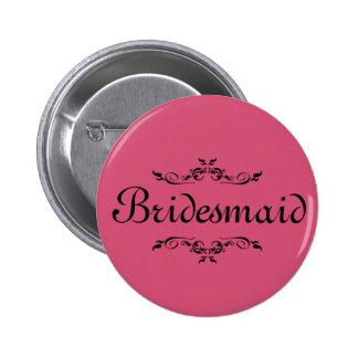 Pink Floral Swirl Border Bridesmaid 6 Cm Round Badge