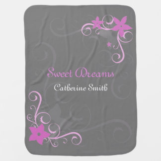Pink floral swirl personalized baby name baby blanket