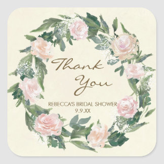 pink floral thank you bridal shower stickers favor