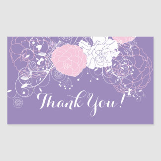 pink floral thank you stickers