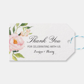 Pink Floral Thank You Tag, Favor Tag, Gift Tag
