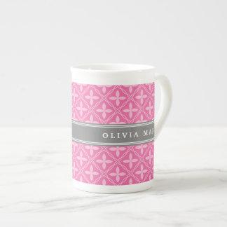 Pink Floral Trellis Pattern Grey Name Bone China Mug