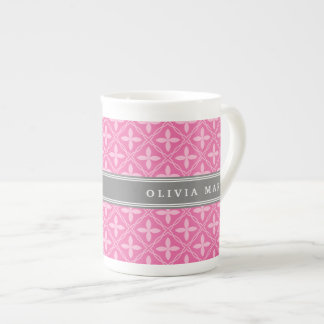 Pink Floral Trellis Pattern Grey Name Tea Cup