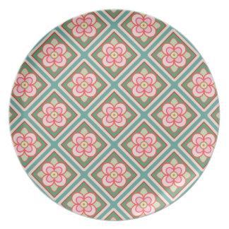Pink Floral Trellis Vintage Flower Pattern Dinner Plate
