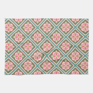 Pink Floral Trellis Vintage Flower Pattern Towel