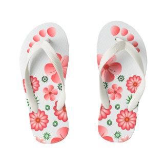 Pink Floral Tropical Flowers Toe Marks Flip Flops Thongs