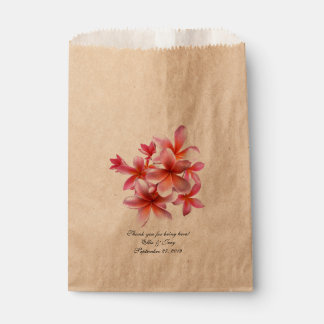 Pink Floral Tropical Plumeria Wedding Gift Bags