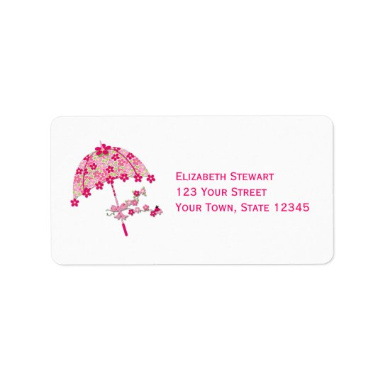 Pink Floral Umbrella, Bridal Shower Label