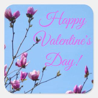 Pink Floral Valentine Square Sticker