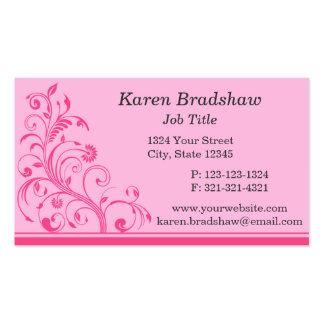 Pink Floral Vines, Leaves & Curls Business Cards