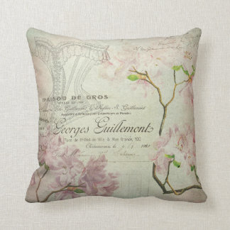 Pink Floral Vintage Chic French Script Home Decor Cushion