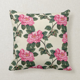 Pink Floral Vintage Print Pillow