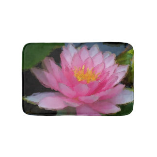 Pink Floral Water Lily Lotus Flower Bath Mat