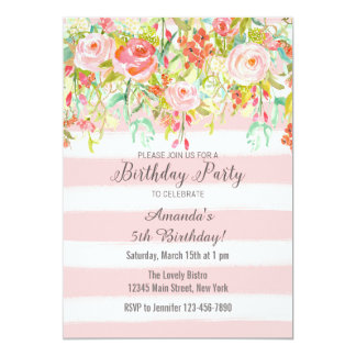 Pink Floral Watercolor Birthday Invitation